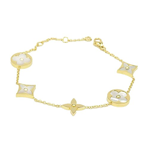 Baoli 18k Gold White Shell Clover Women's Chain Bracelet (titanium-and-gold)