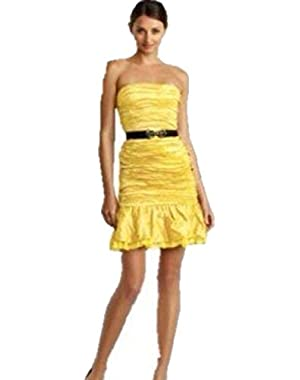 BCBGMaxAzria Strapless Runway Bamboo and Cotton Cocktail Dress for Women in Yellow Size 2