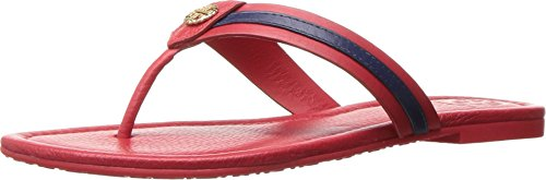 Tory Burch Maritime Flat Shoes Flip Flop Sandal Leather (7, Nantucket Red - Red Burch Tory
