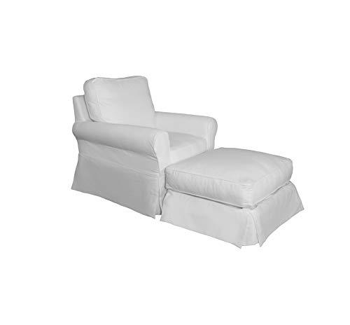 Sunset Trading SU-114993-30-391081 Horizon Chair and Ottoman, White