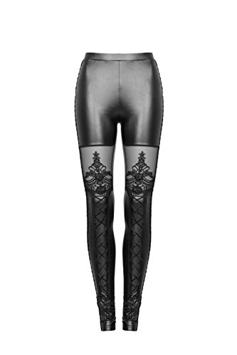 PUNKRAVE Fashion Sexy Women Faux Leather Gothic Leggings Pants with Lace Black4XL