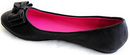 Anna Lily-40 Femmes Lady Ballet Décontracté Bateau Plat Slip-on Pull-on Bow Noeud Pu Chaussures Noir