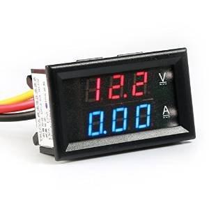 Lollipop 0.28''LED DC0-100V 10A Digital voltmeter Multimeter 12V/24V Voltage Meter Volt Amp Gauge Panel for Car Auto Boat Battery Monitoring