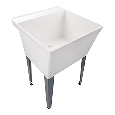19-Gallon Laundry Utility Tub   Heavy Duty Thermoplastic Basin, Adjustable Metal Legs, Everything Necessary For A Complete Sink Installation (Includes Supply Lines And Piping), FAUCET NOT INCL