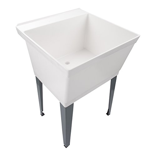 19-Gallon Laundry Utility Tub | Heavy Duty Thermoplastic Basin, Adjustable Metal Legs, Everything Necessary For A Complete Sink Installation (Includes Supply Lines And Piping), FAUCET NOT INCL by MAYA