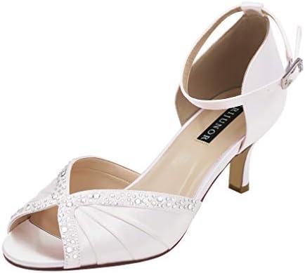Erijunor E8805c Women Comfort Low Heel Ankle Strap Rhinestones