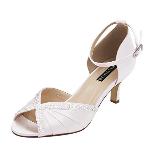 ERIJUNOR E8805C Women Comfort Low Heel Ankle Strap Rhinestones Pleat Dyeable Satin Wedding Dance Shoes White Size 11 (Dyeable Shoes Size 11)