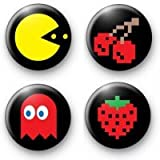 "Set of 4 - 1980s RETRO PACMAN - 1.25"" MAGNETS ~ 80s Pac Man"