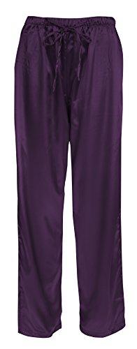Leisureland Women's Elastic Solid Satin Sleepwear Pajama Bottoms (X-Large, Pants Plum) -
