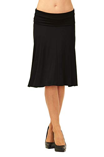 SADACO Womens Basic Solid Stretch Fold-Over Flare Midi Skirt - Made in USA (Large, Black)