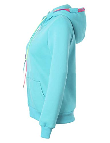 Blue Sweatshirt Zipper Casual Hood XINHEO Coat Women's Loose Pocket Jacket ZqPxg