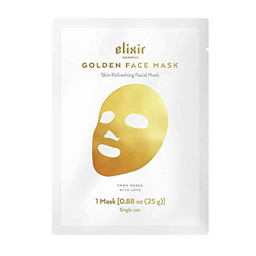 Elixir Cosmetics Gold Korean Face Mask - Moisturizing Collagen & Anti Aging Peel Off Facial Sheet Mask (1 Pack)