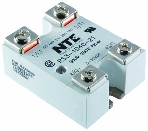NTE Electronics RS3-1D40-21 Series R3 Solid State AC and DC Power Relay, SPST-NO Contact Arrangement, Back to Back Dual SCRs, 3-32 VDC Input, 24-280 VAC Output, 50 Amp