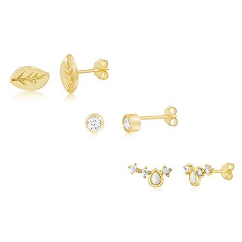 y Created Opal & Cubic Zirconia Trio Mini Stud Earring Set in Yellow Gold Plated Sterling Silver (Yellow Teardrop, Polished Leaf, Bezel Stud) ()