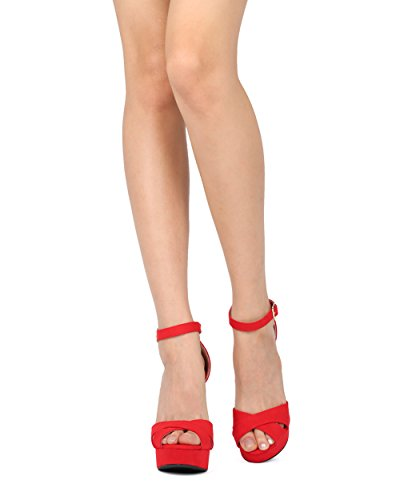 Alrisco, Donna, Ecopelle, Camoscio, Plateau, Cinturino Alla Caviglia, Cinturino Alla Caviglia - Hg56 By Qupid Collection Red Faux Suede