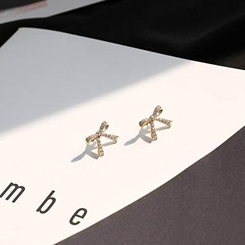 Korea Full Diamond Bow Earrings earings Dangler Eardrop Women Girls Creative Personality Gift Woman Girl Student Center