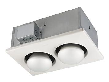 NuTone Bulb Heater, Energy-Saving 2-Bulb Infrared Ceiling Heater for Bathroom and Smaller Spaces, White, 500-Watt