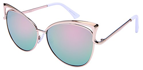 Edge I-Wear Open Metal Frame Cat Eye Sunnies w/Color Mirror Lens - For Sunglasses Women I