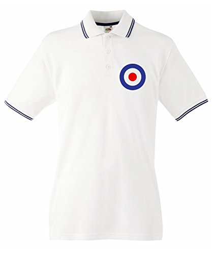 Tribal T-Shirt Men's Mod Target Tipped Polo T-Shirt Medium White