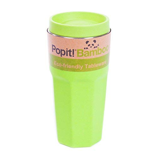 Coffee Travel Mug - Eco-Friendly, Fits Most Cup-holders - 15 Oz. / 450ml Travel Tumbler, Stainless Steel, Cool Colors, Made out of Bamboo Fiber - The Bamboo Travel Mug, by Popit! (Pear Green) (Green Travel Mug)