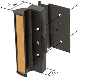 "CRL Black Clamp-Style Surface Mount Sliding Glass Door Handle 3"" Screw Holes for International Doors"