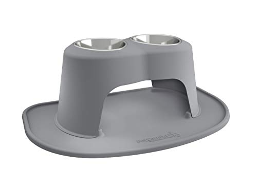 Pet Feeding Bowl - PetComfort Double High Feeding System with XL Mat (12