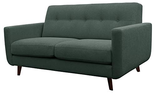Rivet Sloane Mid-Century Modern Loveseat with Tufted Back, 64.2'W, Emerald Green