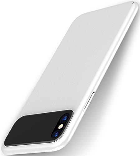 Funda iPhone X,SUNGUY acabado Mate prueba de golpes dura de la PC y trasera de cristal templado híbrido arañazos cubierta de la caja de absorción de golpes para Apple iPhone X - Negro Bianco