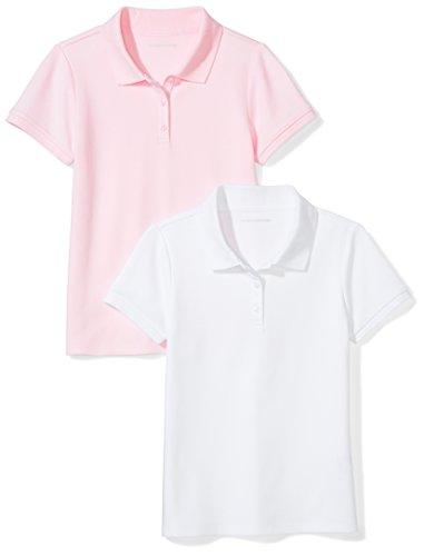 (Amazon Essentials Little Girls' Uniform  Interlock Polo, White/Light Pink, S (6-7))