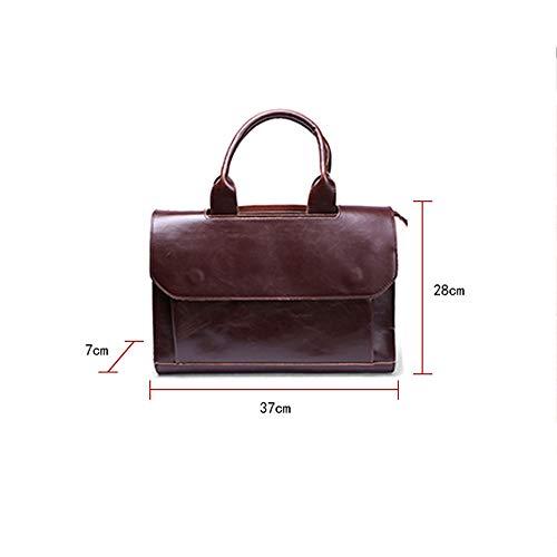 vintage Sac Brown papier ouverture cuir d'affaires en pour sac fermeture Sac avec et en en quotidien mezzanine à glissière à multifonction A4 à Capacité bandoulière femme main d'épaule ETRp8Tq