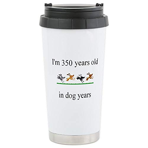 CafePress 50th birthday dog years.bmp Travel Mug Stainless Steel Travel Mug, Insulated 16 oz. Coffee Tumbler