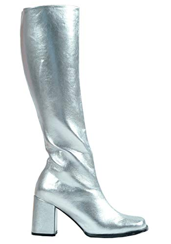 ELLIE Shoes Knee High Boot Side Zipper Retro Metallic GOGO Silver -12 ()