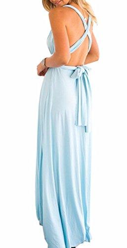 Sexyshine Women's Backless Gown Dress Multi-Way Wrap Halter Cocktail Dress Bandage Bridesmaid Long Dress (LB,S) Light Blue