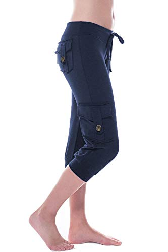 (HSRKB Women's Yoga Capris Workout Pants Athletic Cropped Pants with Muti Pockets Navy Blue)