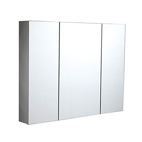 Storage Ottoman Bathroom Cabinet with Mirrors/Illuminated Bathroom Mirror Cabinet 3 Door Large -