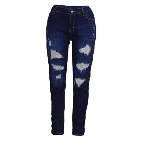 en Jeans Trous Denim Taille Bleu Bringbring Pantalon Femme Haute Dchirs qX75Tpxp
