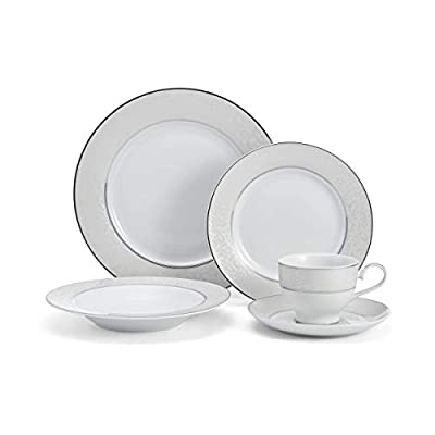 Mikasa 5224232 Parchment White 40-Piece Dinnerware Set, Service for 8 - Dinnerware set for 8: This 40Piece Dinnerware Set includes 8 of each; 10. 75-Inch dinner plate, 8. 5-Inch salad plate, 8. 5-Inch Soup bowl, 9-ounce tea cup, and 6. 5-Inch tea saucer. Beautiful details and design: The Parchment dinnerware collection from Mikasa features a gentle gray border embellished with beautifully detailed scroll design. Versatile dinnerware design: the beautifully detailed design complements any decor and can be used for formal and casual occasions. Each piece is chic and elegant, accented by inner and outer borders of Platinum. - kitchen-tabletop, kitchen-dining-room, dinnerware-sets - 319QHdrUfnL. SS400  -