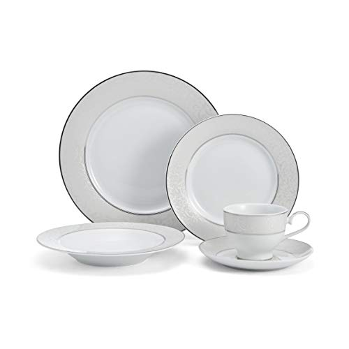 Mikasa 5224232 Parchment White 40-Piece Dinnerware Set, Service for 8 - Dinnerware Tea Set