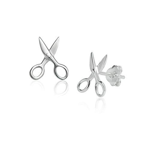 Sterling Scissors Silver Sterling - Big Apple Hoops - Genuine Sterling Silver Cute Scissor Design Stud Earrings | Silver Polish Finish