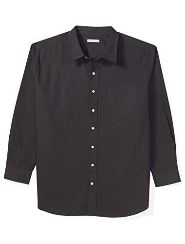 Amazon Essentials Men's Big & Tall Long-Sleeve Solid Shirt fit by DXL, Black, 4X
