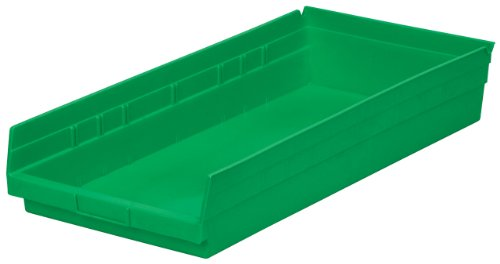 Akro-Mils 30174 24-Inch by 11-Inch by 4-Inch Plastic Nesting Shelf Bin Box, Green, Case of 6 ()