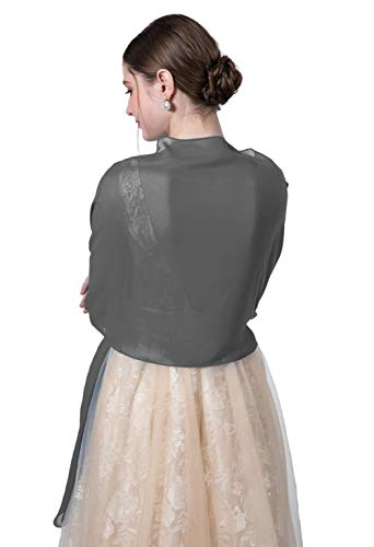Women's Bridal Soft Chiffon Scarve Shawls Wraps For Evening Prom Occasion (Dark grey, 195cmx45cm)