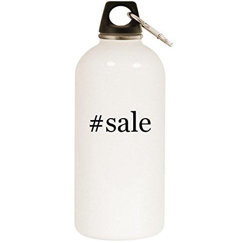 #sale - White Hashtag 20oz Stainless Steel Water Bottle with Carabiner