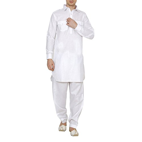 Royal Kurta Men's Linen Pathani Suit XX-Large White