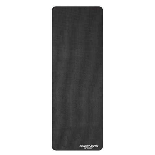 Skechers Sport Focus Series 4.5MM Thick Textured Non-Slip Black Style Print PVC Yoga Mat, 68-Inch X 24-Inch, KS9462BK
