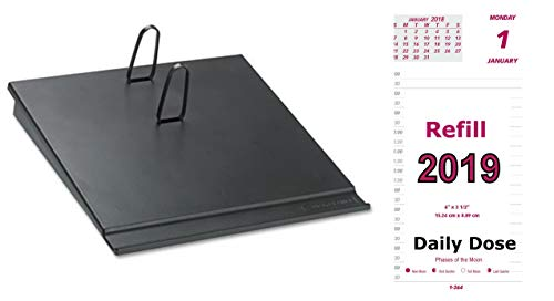 2019 Daily Calendar Set, Includes Daily Refill and Base (Black Plastic Calendar Holder with Metal Clips), Daily Does Replacement for E717-50 and E17-00