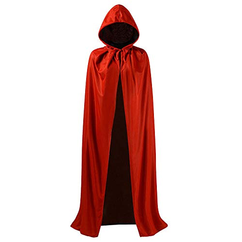 DingGuagua Unisex Christmas Halloween Witch Knight Reversible Hooded Robe Adult Kids Vampires Cape Cloak Cosplay Costume, Hooded 59 inch