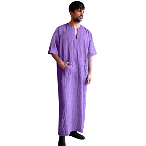 Men Long Robe Cotton Linen Baggy Kaftan Long Thobe for sale  Delivered anywhere in USA