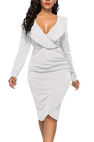 (WIWIQS Women's Sexy Ruffle Long Sleeve Plus Size V Neck Bodycon Party Mini Club Dress,White Long Sleeve,3XL)