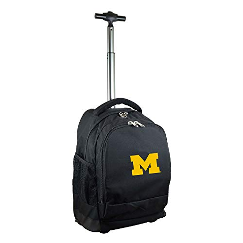 NCAA Michigan Wolverines Expedition Wheeled Backpack, 19-inches, Black